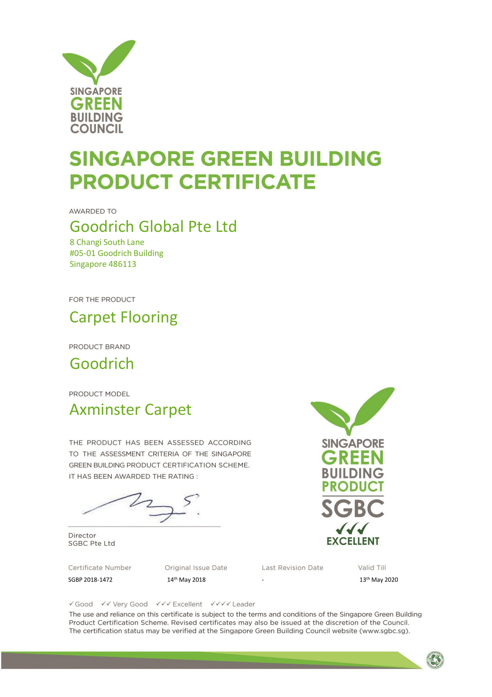 SGBC Goodrich Global Pte Ltd Axminster Carpet 1